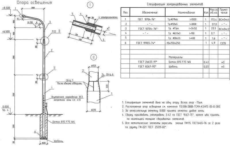 Монтаж столбов уличного освещения