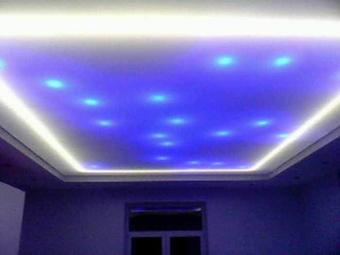 Подсветка натяжного потолка с помощью светодиодной ленты