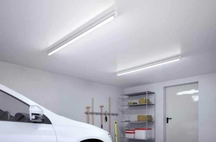 Освещение гаража лампами дневного света