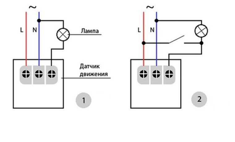 Схемы подсоединения датчика движения в электросеть