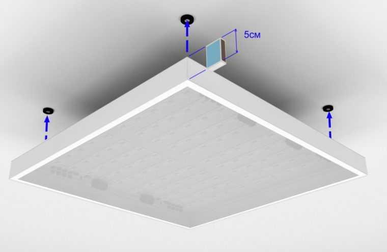 Установка накладного потолочного светильника