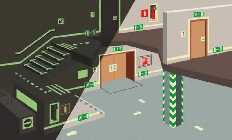 Схема размещения светильников аварийного освещения