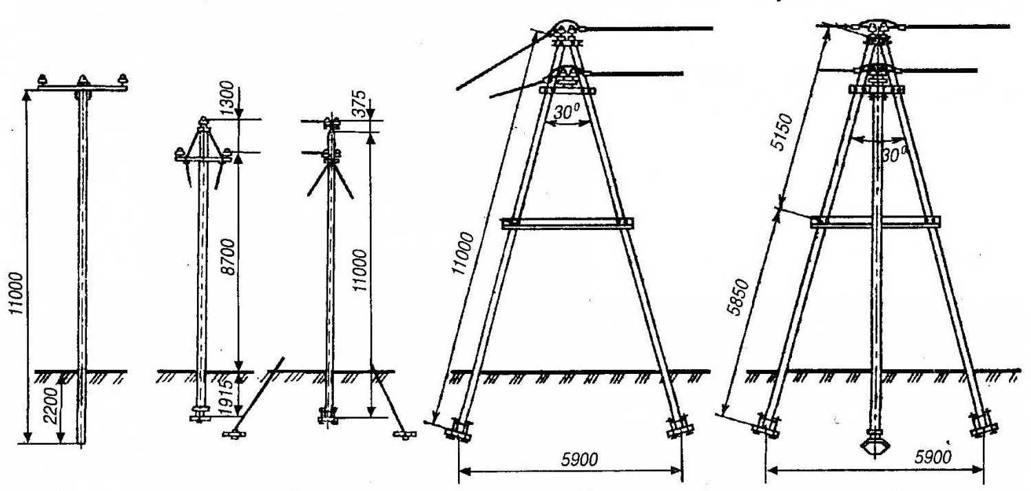 Варианты установки железобетонных опор для освещения и линий электропередач