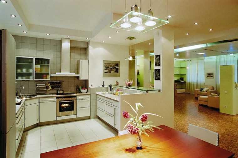 Для эффективного освещения кухни обычно используется несколько типов светильников