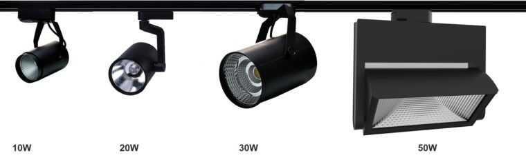 На одном шинопроводе можно разместить трековые светильники различных типов