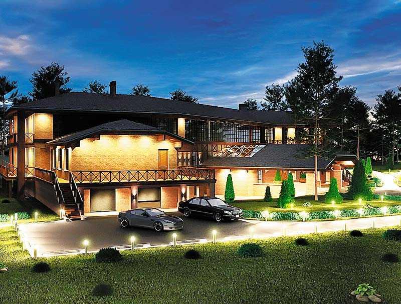 Дизайнерское освещение участка загородного дома