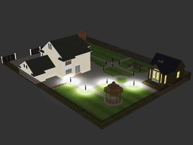 Схема освещения территории загородного дома