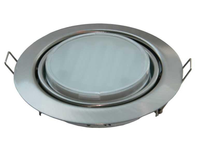 Поворотный встраиваемый светильник Ecola GX53 с хромированным корпусом