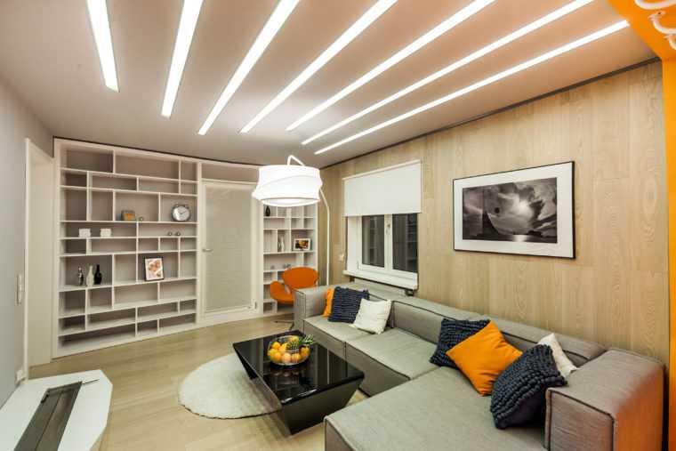 Линейные светильники позволяют добиться равномерного распределения света по комнате