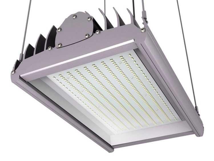 Промышленный светодиодный светильник с тросовой подвеской
