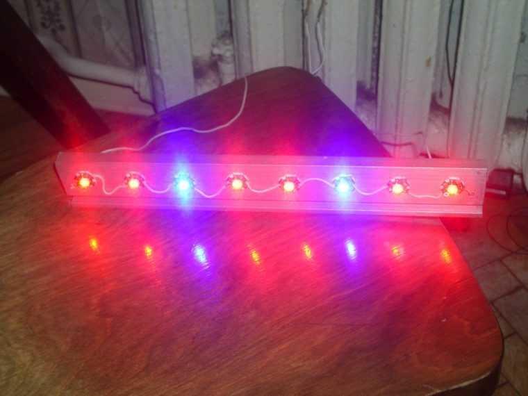 Светильник для рассады на красных и синих светодиодах