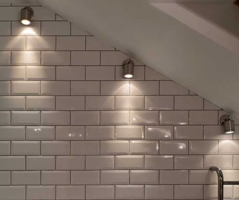 Настенные споты в ванной комнате