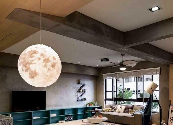 Подвесной светильник для гостиной с большим шарообразным плафоном