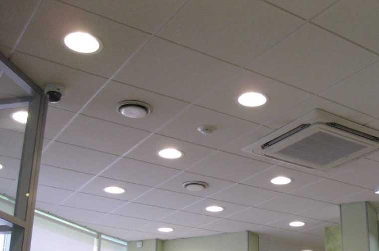 Круглые светодиодные светильники для потолка Армстронг