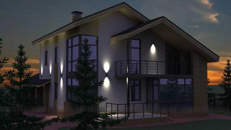 Декоративная подсветка фасада загородного дома LED-светильниками