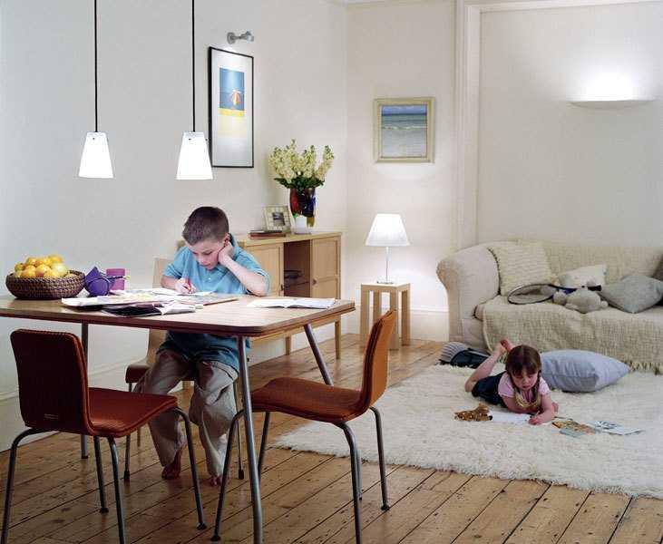 Освещение письменного стола в детской комнате