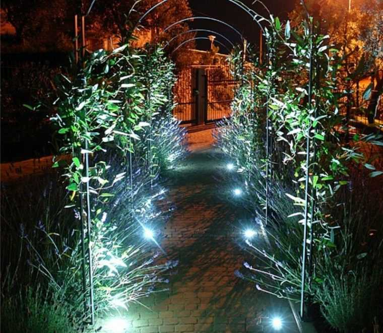 Оригинальная подсветка дорожки в парке грунтовыми светильниками