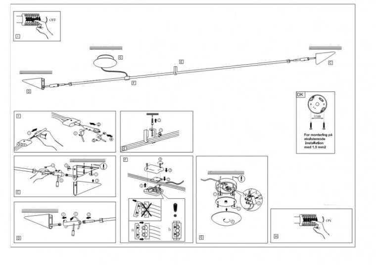 Схема монтажа струнных светильников