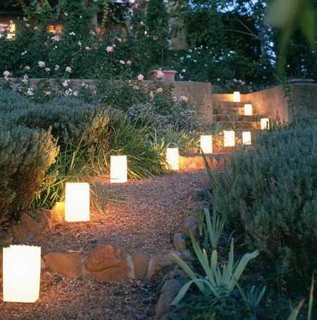 арковое освещение в саду