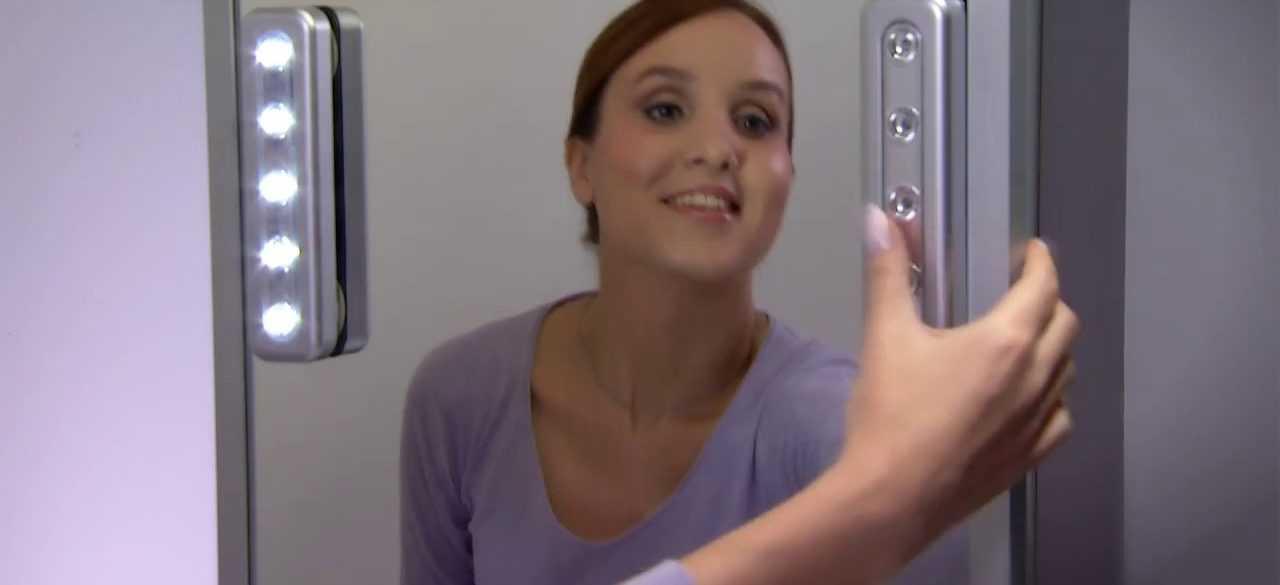 Размещение наносветильников на зеркале