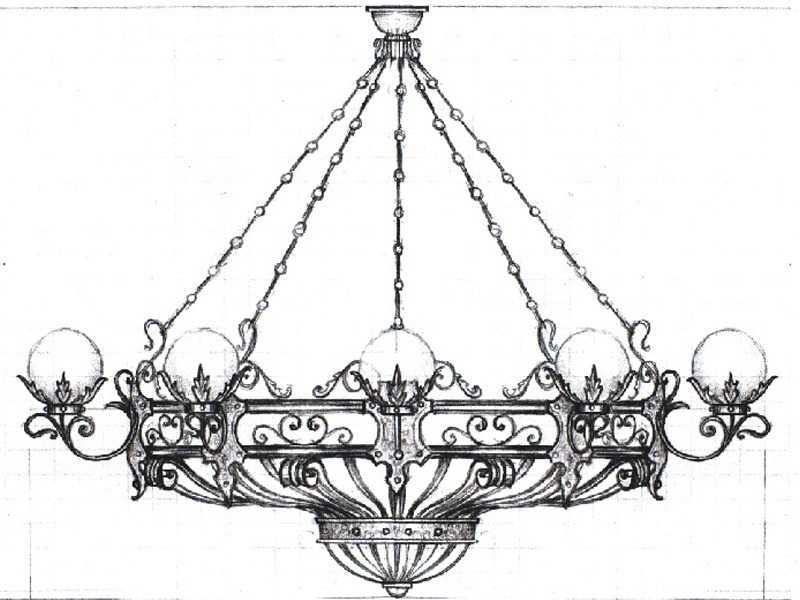 Схема кованой люстры