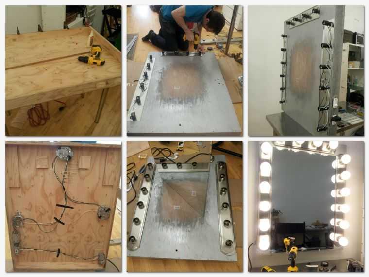 Этапы изготовления зеркала с подсветкой