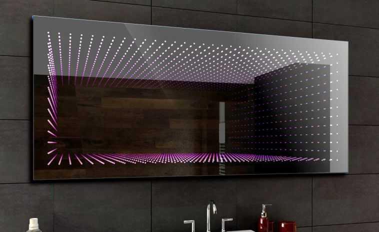 Зеркало с подсветкой тоннель на стене